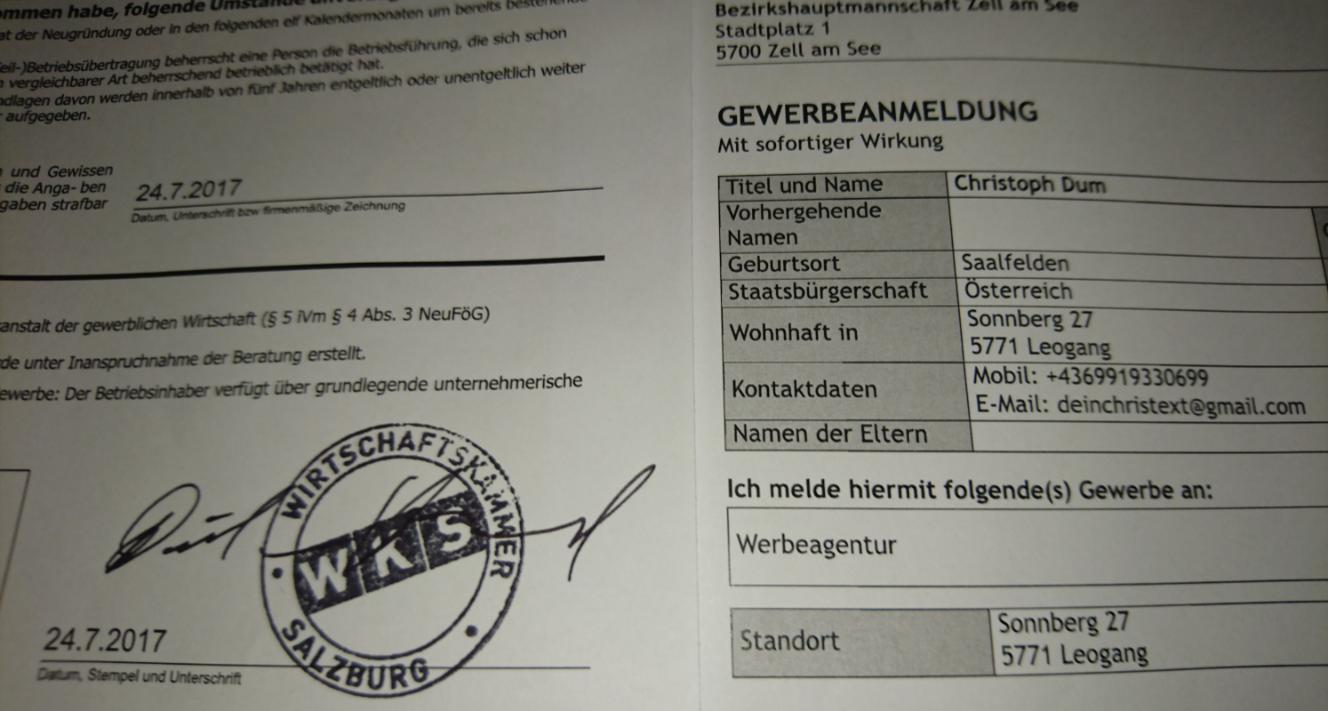 Gewerbe Anmeldung WKS